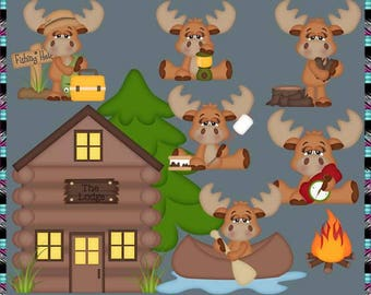 Great Outdoors, Moose, Camping, Hunting, Fishing - Instant Download - Commercial Use Digital Clipart Elements Graphics Set