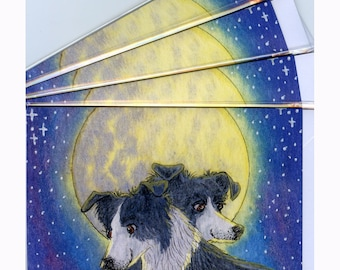 4 x Border Collie dog moonlight love greeting cards