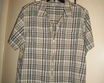 Vintage Plus Size Plaid Zip-Up Shirt Size 18-20