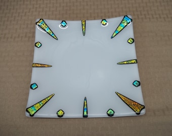 White and Dichroic Fused Glass Dish