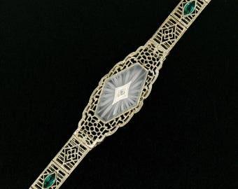 Antique Art Deco Handmade 14k White Gold French Camphor Glass w/ Diamond & Emerald Accents Open Filigree Milgrain Etched Belly Bracelet
