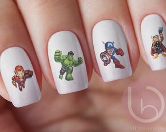 Super Hero Character Nail Decal, Marvel Character, Hulk Nail Decal, Ironman Nail Decal,Thor Nail Decal, Nail art