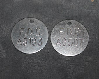Pair of Genuine Mortuary Cremation Numbered  Identification Tags