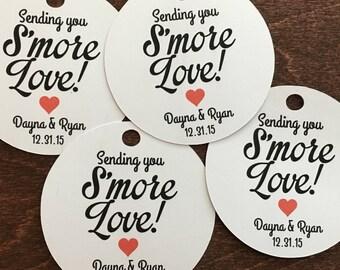 White Smore Wedding Favor, Smore Love Tags, Wedding Favor, Smore Favor, Smore Tags