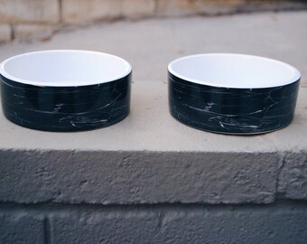 Set of Black Marble Ceramic Dog Food and Water Bowls