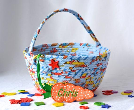 Boy Easter Basket, Handmade Easter Bucket, Artisan Quilted Basket, Boy's Room Toy Storage Basket, Baby First Easter Basket