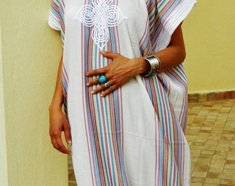 KAFTAN 20% SALE/ Bedouin Style Resort Caftan Kaftan- White-Perfect as loungewear, as beachwear,cover ups,resortwear, Kaftan, maternity, birt