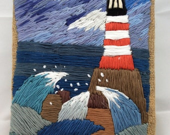 Lighthouse and sea hand embroidered picture