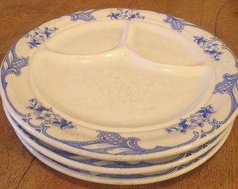 Set of 3 Ivory Shenango China Blue Rose Point RimRol Heavy Divided Dinner Plates : divided dinner plate - pezcame.com