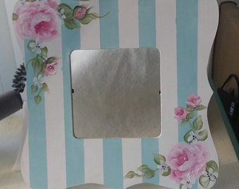 Cottage Chic Wood Frame Hand Painted Shabby Pink Roses