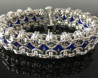 Silver and Blue Beez to Butterfliez Chainmaille Bracelet chain maille, chainmail, chain mail