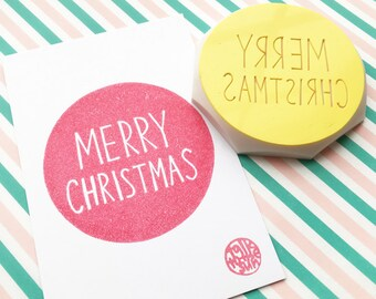 merry christmas rubber stamp | circle calligraphy stamp | xmas card making | holiday crafts | scrapbooking | hand carved by talktothesun