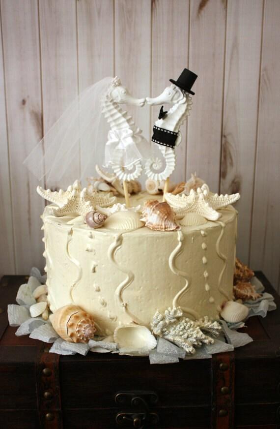 Kissing seahorse wedding cake topper beach themed wedding cake junglespirit Images