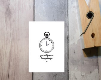 """Clock Print. """"You will Forever be my Always"""". Typography Poster. Wall Decor"""