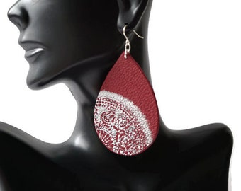 Red Leather Earrings, Large Leather Teardrop Earrings, flower Earrings, Mismatched Earrings, Earrings Flower Leather