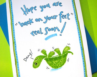 Funny Turtle Get Well Card - Feel Better Card