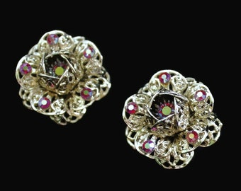 Sarah Coventry Fashion Flower Clip On Earrings, With Aurora Borealis Rhinestones Set In Gold Tone