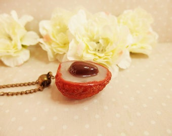 "Fruit necklace ""Lychee / lychee"" polymer clay / fruit necklace / fruit necklace / necklace lychee / jewel litchi / lychee fruit"