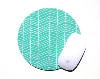 Herringbone Mouse Pad / Mint Green and White / Round Mousepad / Office Home Decor