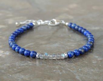 Lapis Lazuli Bracelet for Women - Labradorite Bracelet - Stone Bracelet - Gemstone Bracelet - Blue Bracelet for Her - Dainty Bracelet Gift