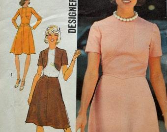 Uncut 1970s Simplicity Vintage Sewing Pattern 6145, Size 16; Misses' Dress