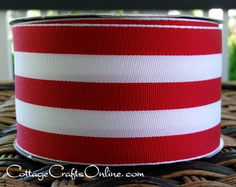 "Wired Ribbon, 2 1/2"" , Red and White Stripe - TWENTY FIVE YARD Roll - Offray ""Carnival Red"", Grosgrain Style, Christmas Wire Edged Ribbon"