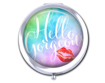 Hello Gorgeous pocket mirror, girlfriend gift for her, positive saying compact mirror, uplifting purse mirror, red watercolor.