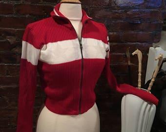 Vintage Red & off white Nils Zip Front Ski Sweater Apres Ski Cardigan Skiwear Small