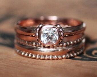 Rose gold engagement ring set, 14k rose gold vintage engagement ring, white topaz engagement ring, promise ring for her, Custom, temple ring