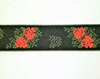 "1 m Woven Ribbon ""Roses"" 100 % cotton 25 mm w Dirndl Oktoberfest bavaria"