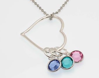 Birthstone Heart Necklace | Customizable Mother's Necklace | Mom Necklace | Mother's Day Gift | Necklace With Kids Birthstones
