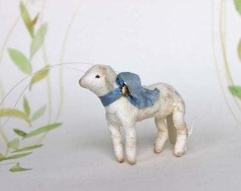 Nostalgische Wattefigur Lamm Ornament Spun Cotton Weihnachten