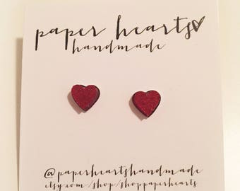 red heart stone studs