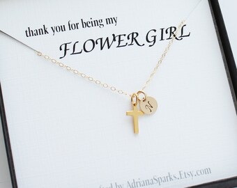 Personalized Flower girl thank you gift, Flower girl Initial necklace, Personalized flower girl Cross necklace, Cross necklace for Girls