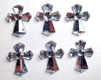 Jewelled silver cross cabochons - gothic - trend - earrings - card making - decoden crafts - scrapbooking - embellishments - sparkly jewel