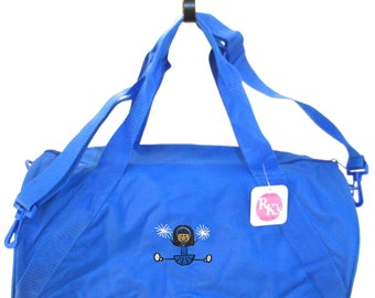 Blue & White Cheerleader Monogram Stick Figure Duffle Fun Cheer Team Duffel Bag Coach Gift You Choose Colors Blue READY TO SHIP! Embroidered