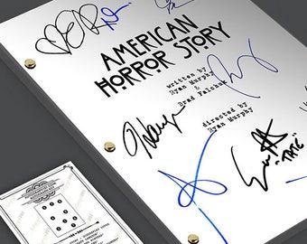 AMERICAN HORROR STORY Tv Script Screenplay Signed Autograph Reprint -  Evan Peters, Sarah Paulson, Denis O'Hare, Jessica Lange, Emma Roberts