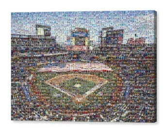Unique New York Mets Mosaic Art Print of Citi Field with Over 270 Past & Present Trading Cards (1962-present).