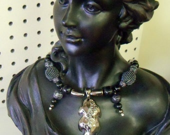 artistic assemblage necklace unique gift for her Hematite leaves freshwater pearl eclectic set with earrings magnetic jewelry OOAK