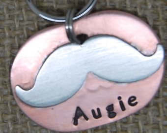 Mustache Pet ID tag - NEW DESIGN - dog tag