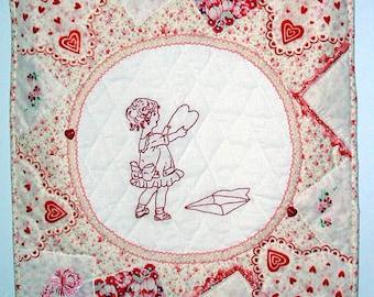 Valentines Greeting, A Redwork Quilt with Handkerchief Border