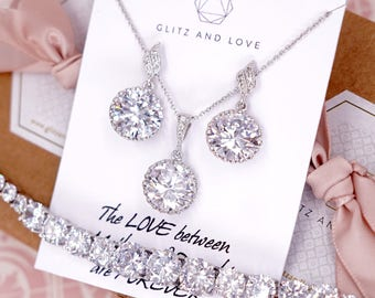 Bridesmaid Earrings Necklace Bracelet, Bridal Jewelry Set, Personalized bridal shower gifts idea, Wedding Jewelry, Cubic Zirconia, E46 B91