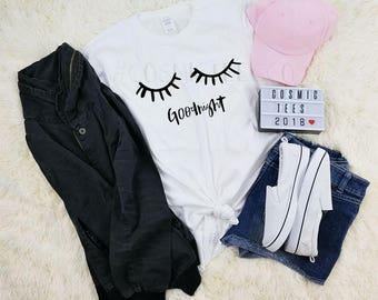 good night eyelashes shirt, tumblr, aesthetic clothing, kawaii, instagram, cute tops, hipster, blogger, tshirt with sayings, 90s grunge
