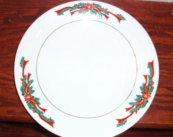 """4 Dinner Plates POINSETTIA & RIBBONS CHINA Fairfield 10 1/2"""" Christmas Holidays Seasons Porcelain Pine Greenery Set Four Excellent Condition"""