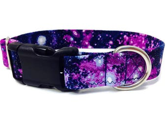 Galaxy Dog Collar, Nebula Collar, Outer Space Collar, Purple dog collar, glitter dog collar, medium dog collar, girl dog collar, boy collar