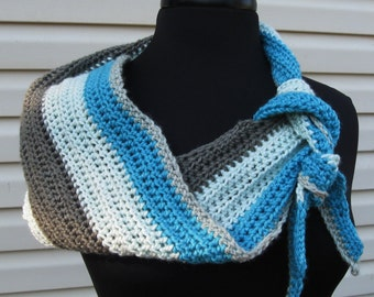 Coffee Shop Scarf/Blue and Gray Neck Scarf