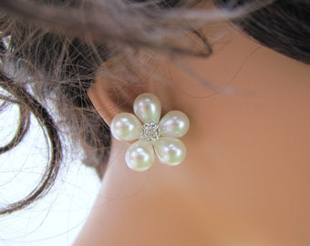 Bridal white pearl stud earrings, pearl with rhinestone sterling silver wedding jewelry - Daisy