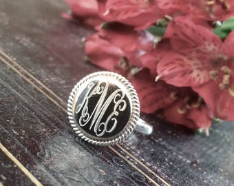 Sterling Silver Monogrammed Ring Round with Rope Edge 18MM