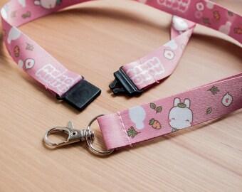 Pink Bunny Love Carrots Lanyard - Cute Pink Neck Lanyard