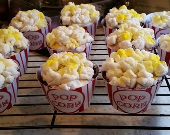 Popcorn/Movie Night - Printable Cupcake Wrappers - Instant Download